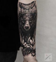 bear tattoo galf sleeve by @bobavhett