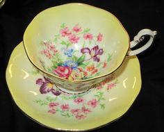 ROYAL ALBERT  RAINBOW GRAND PEDESTAL TEA CUP AND SAUCER ROSE BOUQUET
