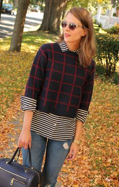 Off The Grid| Penny Pincher Fashion navy & red windowpane over black & white stripes
