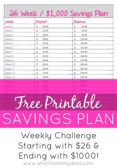 Weekly Savings Plan - Looking for an easy weekly savings plan? Maybe for Christmas gifts, a vacation,or a down payment on something… 26 Week Savings Plan, Savings Challenge, Money Saving Challenge, Money Saving Tips, College Savings, Money Savers, Savings Chart, Creative Money Gifts, Surveys For Cash