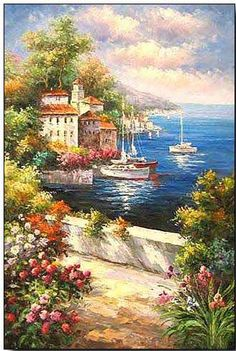 Mediterranean oil painting What's Art ? To answer the question of what's art history, we Seascape Paintings, Watercolor Paintings, Landscape Art, Landscape Paintings, Mediterranean Art, Cottage Art, Art Design, Beautiful Paintings, Artist Art