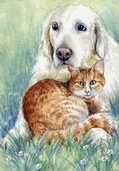 ACEO Original Watercolor Miniature Painting Cat & Dog by Elena Mezhibovsky Watercolour Painting, Cat Art, Miniatures, Puppies, The Originals, Pets, Art Paintings, Animals, Ebay