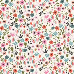 Tiny Floral in White (2187-01) - BEAUTIFUL GARDEN GIRL - Tea and Sympathy for Studio e Fabric