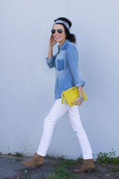 Heck yeah . Chambray (current fave) . White denim jeans . Bright accessories . Short boots  Makes me happy