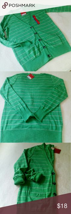 """Boyfriend Cardigan NWT!! DROP!! Was $18 now $14 Super cute for the Spring!! By Mossimo NWT... Measuring 19"""" across bust, 28"""" length and 26"""" sleeves. Kelly green with gray subdued stripes. Two cute patch pockets and oversized buttons. Super soft 100% cotton and washable. Mossimo Supply Co Sweaters Cardigans"""
