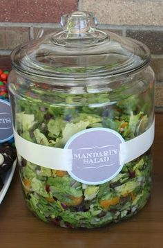 SO excited I came across this idea from 4 Men 1 Lady! Great way to serve greens and fruit salad at a backyard bbq without worrying about the bugs!.
