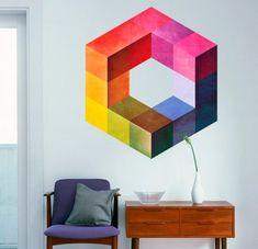 Vinilos decorativos - Vinilo Efecto Cubo Moderno - hecho a mano por Wall-Decals en DaWanda