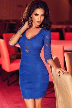 Royal Blue Sleeved Eyelash Lace Mini Dress