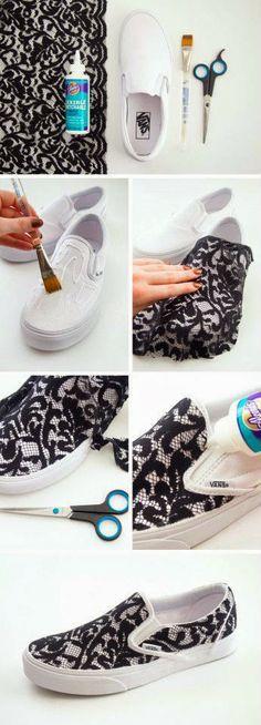 DIY com sapatos. DIY pimp je witte sneakers met zwart kant.