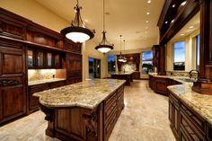 Luxury Kitchen Inside Million Dollar Homes Luxury Kitchen Design, Best Kitchen Designs, Luxury Kitchens, Interior Design Kitchen, Cool Kitchens, Dream Kitchens, Rustic Kitchen, Kitchen Decor, Huge Kitchen