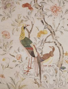 Detail of mid-18th-century chinese wallpaper from the Chinese Bedroom at Felbrigg Hall, England.