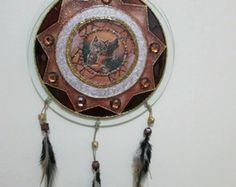 Mandala vitral Xamânica Lobo Marrom 30cm