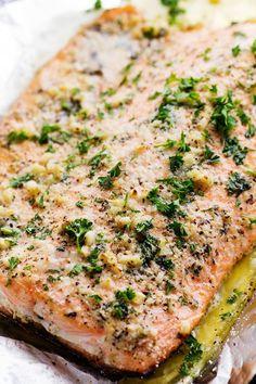 Parmesan Garlic Butter Herb Salmon