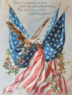Vintage fourth of july card american pride, american flag eagle, american freedom, american American Flag Eagle, American Pride, Vintage American Flags, American Flag History, Vintage Flag, American Quotes, American Freedom, American Symbols, I Love America