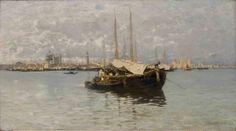 Guglielmo Ciardi (1842-1917) - Barconi e vele nella laguna di Venezia - olio su tela
