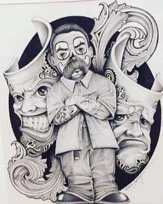 Badass Drawings, Chicano Drawings, Art Drawings, Trippy Drawings, Arte Cholo, Cholo Art, Tattoo Studio, Chicano Tattoos Sleeve, Arte Lowrider