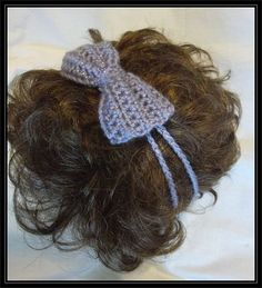 Crocheted 2 Strand Headband with Bow by ItsNotWeird on Etsy