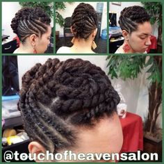 Flat twist updo.  Natural hair.  www.touchofheavensalon.com