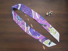 Blue Purple Yellow White Silk Twilly Scarf Handbag Tie Silk Tie 100% Silk Scarf - Flower Belt Strap Heart Print 41in x 2in (105 x 5cm) - Premium Quality