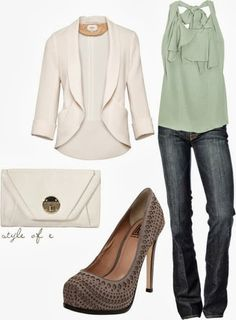New fashion outfits, blouse and jeans, perfect for a night out with the girls