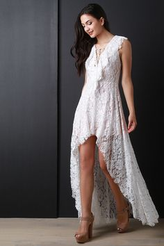 Ruffle Lace High Low Maxi Dress