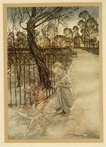 """1975 Vintage PETER PAN /""""HER MAJESTY WANTS THE TIME/"""" RACKHAM Color Lithograph"""