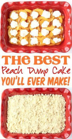 Peach Cheesecake Dump Cake Recipe! Dessert doesn't need to be complicated tonight… but it does need to be delicious, right? That's why you'll LOVE this easy peaches and cream dump cake! Just 4 ingredients and you're done! Go grab the recipe and give it a try this week! Easy Summer Desserts, Summer Dessert Recipes, Easter Desserts, Fun Desserts, Fall Recipes, Recipes Using Cake Mix, Dump Cake Recipes, Peach Cheesecake, Party Punch Recipes