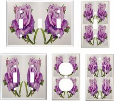PURPLE ROSE ROSES LIGHT SWITCH COVER PLATE  K1     #Leviton