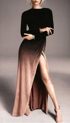 Sexy Round Collar Ombre High Slit Long Sleeve Dress For Women Maxi Dresses | RoseGal.com Mobile