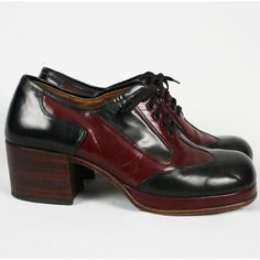 The third important shoe - the platform oxford. I had these in two colors, red/black and gray/black. What was I thinking? How did I ever learn to drive wearing these? Mens Platform Shoes, Oxford Platform, Oxford Shoes, Glam Rock, 70s Shoes, Men's Shoes, Shoe Boots, Vintage Shoes, Vintage Men