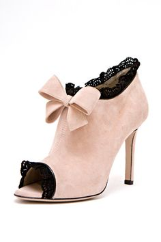 Valentino Lace-Trimmed Suede Bow Booties