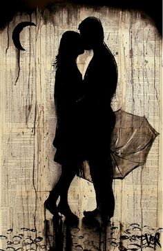 "Saatchi Online Artist: Loui Jover; Pen and Ink, Drawing ""rainy day love story ( SOLD )"""