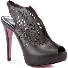 A beautiful shoe with a decorative floral cut out designs through out. - Paris Hilton Black Talia Leather Pump