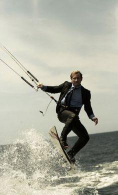 Robby Naish at business-suit-kiting