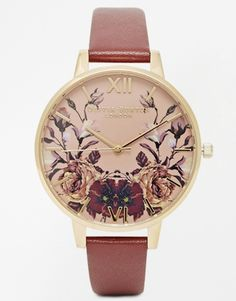 Floral Leather Strap Watch
