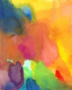 Abstract Painting, Original Watercolor Abstract Art, Dancing Together. $48.00, via Etsy.