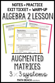 3x3 Systems Augmented Matrices Lesson Linear Programming