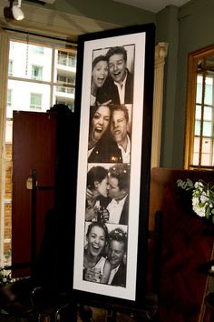 great idea to have a pic of you and your groom outside the photo booth for people to see