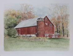 Watercolor of a Pennsylvania barn