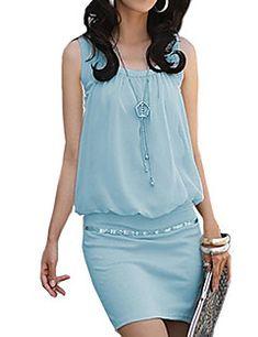 De las mujeres Vaina / Camiseta Vestido Casual/Diario Chic de Calle,Un Color Escote en U Mini Sin Mangas Azul / Rosa / Blanco / Negro