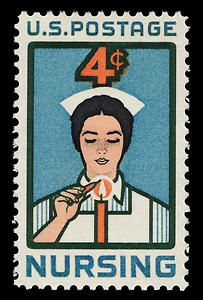 The stamp, issued to honor the nursing profession, features a young woman lighting the traditional candle, symbolizing her dedication to the profession.