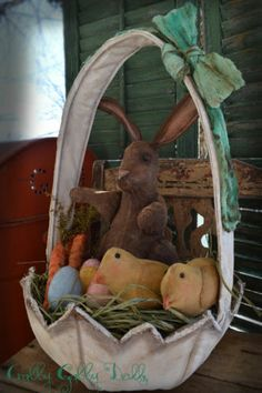 Crabby Gabby Primitive Folk Art Easter Egg Basket w Rabbit Carrots Chicks Doll | eBay