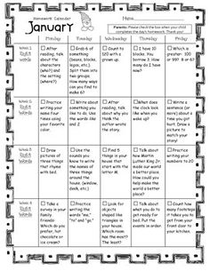 images about Reading Activities For Parents on Pinterest     Grade   Homework Calendar for March