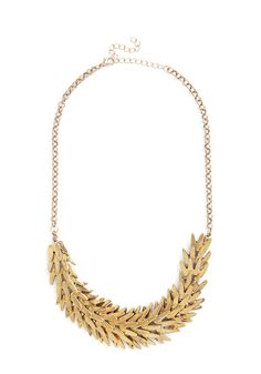 Frond and On Necklace. Leaf it to this golden statement necklace to inspire an endless string of admiration and praise from everyone at this evenings gala!  #modcloth
