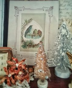 A vintage Christmas at my house, Birds, Bottle brush Trees...photo by Julie Cruzan
