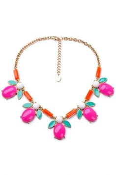 Hot #Pink Water Drop Bib #Necklace - OASAP.com