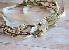 Boho bridal crown flower hair wreath woodland by gardensofwhimsy, $64.00