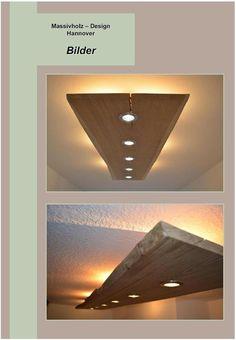 **Aufgrund großer Nachfrage, hier auch wieder die Halogen Variante** **Spots: 20/35 Watt, Halogen** **Hintergrundbeleuchtung: 5 Watt, Halogen** *Massivholz Design Decken Lampe...