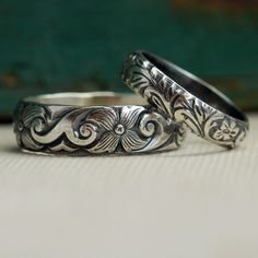 Wedding Ring Set in Sterling Silver by ThirtySixTen on Etsy