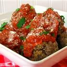 Meatball Nirvana. No sauce necessary (even though that's what's pictured). They're just a little spicy, but you can decrease the red pepper flakes and hot pepper sauce if you prefer. I use green Tobasco for the hot sauce and they're perfect! My friend's toddler even loved them. :)
